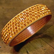Celluloid With Rhinestones Bangle Bracelet, Circa 1930