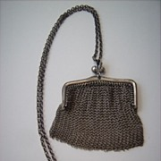 SOLD Vintage Silver Mesh Chain Purse Necklace or Chatelaine Finland