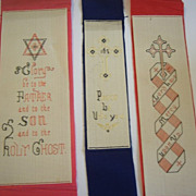 Set of 3 Punched Paper Embroidery Bible Bookmarks c.1887