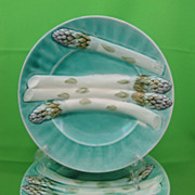 K&G Luneville French Turquoise Asparagus Plates, pair, c.early 1900