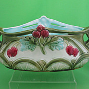 Antique Art Nouveau Majolica Cherry Cache Pot/Planter