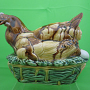 Antique Desvres French Majolica Covered Hen on Nest