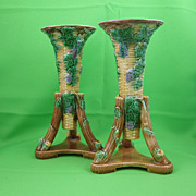 George Jones Majolica Basket Weave Tripod Trumpet Vases, PAIR