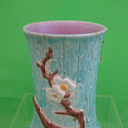 Antique Majolica Dogwood on Turquoise Bark Spooner/Vase