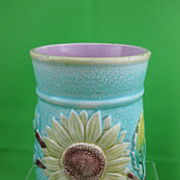 Antique English Majolica Turquoise Sunflower & Lily Spooner/Vase