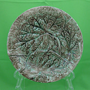 Antique Majolica Overlapping Begonia Leaf Plate
