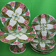 Antique Austrian Majolica 7 pc. Dessert Set, Josef Steidl