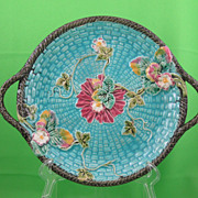 Antique Majolica Turquoise Handled Basketweave & Strawberry Tray