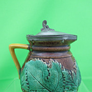 Antique Majolica Maple Leaf Syrup w/ Pewter Lid