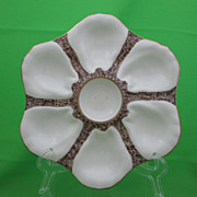 Antique Porcelain 6 Well Oyster Plate, White on Brown