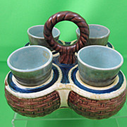 Antique Majolica Basket Weave Egg Holder w/ 4 cups