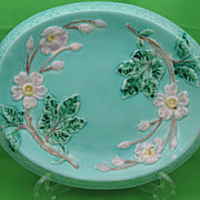 Antique Majolica Turquoise Wild Rose Bread Tray
