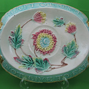 Antique Majolica Chrysanthemum Motto Bread Tray