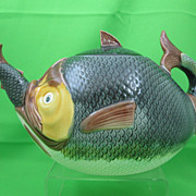 Antique Majolica Fish Eating Fish Tea Kettle