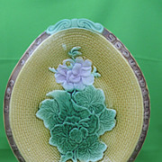 Antique Majolica Geranium Motto Bread Tray