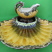Antique Julius Dressler Art Nouveau Asparagus Tray & Sauce Boat