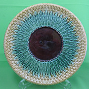 Antique Majolica Round Pineapple Bread Tray