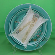 Luneville French Majolica Napkin Asparagus Plate, Branching Fruit