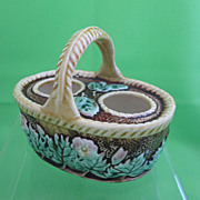 Antique Majolica Floral Handled Two  Egg Basket