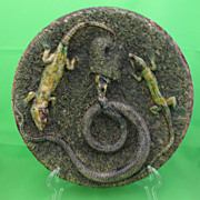 Antique Mafra Palissy Majolica Plaque, Lizards & coiled Snake