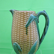 Antique Majolica 9&#8243; Corn Jug