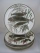 Antique Wedgwood Argenta Majolica Triple Fish Plate, multiples available