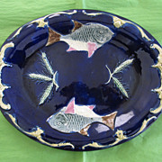 Antique Majolica Cobalt Platter, Fish & Wheat