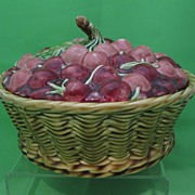 Antique Sarreguemines Majolica Cherry Covered Basket Tureen