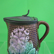 Antique Majolica Primrose Syrup w/ Pewter Lid