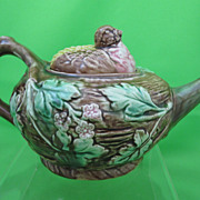Antique Majolica Bird on Nest Tea Kettle