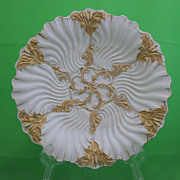 Antique Meissen Gilded Wave Oyster Plate  RARE