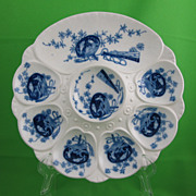 Antique Minton Flow Blue Oyster Plate, Koi & Fan Transfer