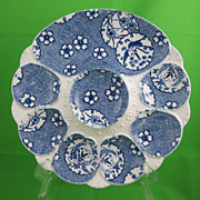 Antique Minton Flow Blue Oyster Plate, Pelican & Flora Asian Transfer