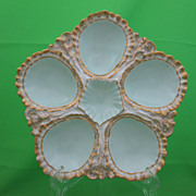 Antique Pouyat Limoges Oyster Plate, Blue & Gold Ruffled Edge
