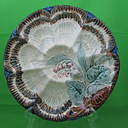 Majolica Oyster Plate, 6 Shells & Cracker Well
