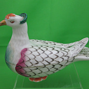 Staffordshire White Pigeon Covered Box  Hand Painted Soft Paste