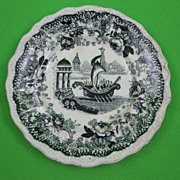 SALE Antique Staffordshire Pearlware Transfer Doll Plate, Viking Ship in Harbor