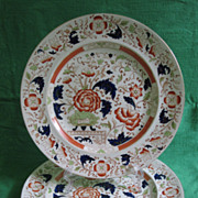 Vintage pair, Burleighware Ironstone Imari Palette Chargers, 15 5/8 diameter