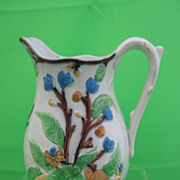 Antique Polychrome Pearlware Staffordshire Jug  Citrus Fruit w/ Lustre
