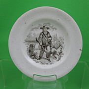 SALE Antique Pearlware Transferware Doll Plate, Hunter & his Dog