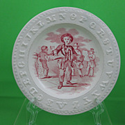SALE Antique Staffordshire Transferware Childs ABC plate, The News Boy