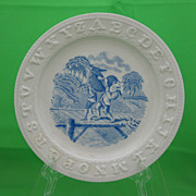 SALE Antique Staffordshire Childs Transferware ABC Plate, Donkey on a Foot Bridge