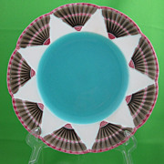 Antique Wedgwood Majolica Fan Plate, Turquoise Center