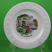SALE ABC Early Victorian Transfer Childs Plate, Harry Baiting
