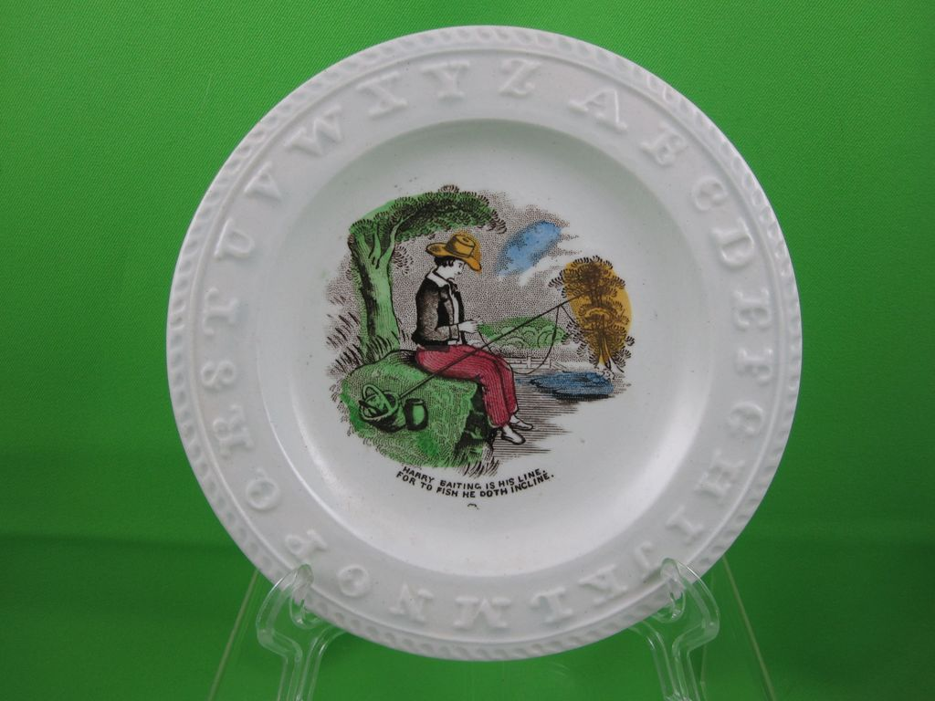 "ABC Early Victorian Transfer Child's Plate, ""Harry Baiting"""