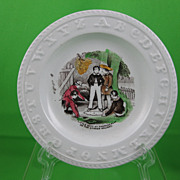 SALE ABC Early Transfer Childs Plate, Little Boys at Marbles Play