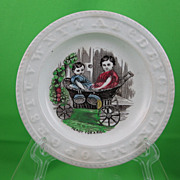 SALE ABC Early Victorian Transfer Childs Plate, Ready For a Ride