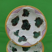 Antique George Jones Majolica Strawberry Leaves on Napkin Dessert Bowl, multiples available