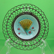 Antique Majolica Butter Pat Wire Basket, Fan & Flower, c.1900