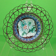 Antique Majolica Butter Pat Wire Basket, Flower on Napkin, c.1900